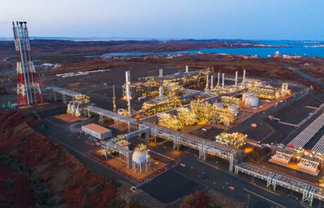 This is an aerial photograph of the Pluto LNG Plant, where Monford Group was focused on energy as a part of their major project portfolio.