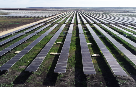 This is a photograph of the Yarranlea Solar Farm during the daytime from a drone, the light reflecting off the panels.