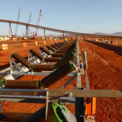 This photograph is of part of the production line at Nammuldi Mine. The large infrastructure systems that are essential to such a major project can be seen at work.