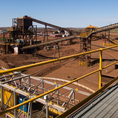 This is a photograph of a part of the process line at Solomon mine, specifically the large conveyor belts used to transfer the ore.