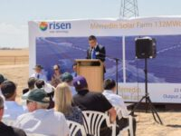 This photograph is of a press conference from Merredin Solar Farm. The contractor Risen is presenting to the employees and local citizens.